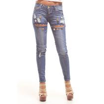 Pantalón Blue Jean Sants Clothes Cortado Con Botones