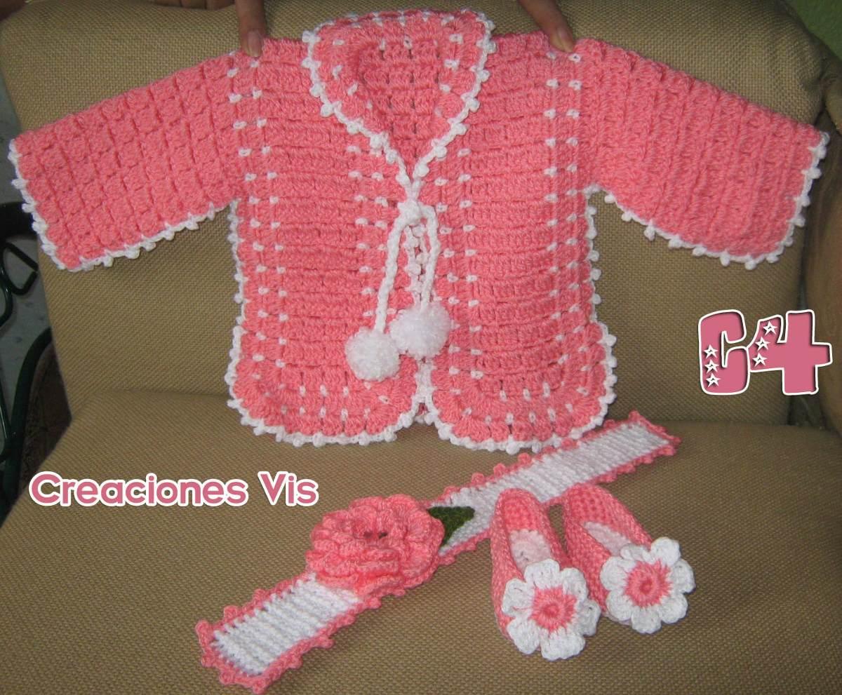 Conjuntos P/ Bebé Crochet Tejido Zapatitos Chambrita Y Tiara ...