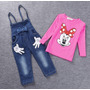 Conjunto Oberol Camibuso Minnie Mouse Niña Bebe Rosado