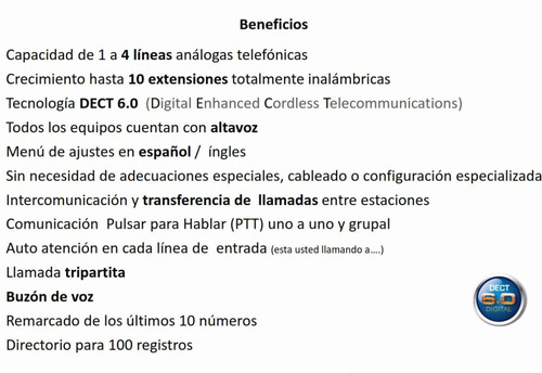 conmutador inalámbrico, operadora y seis extensiones vtech