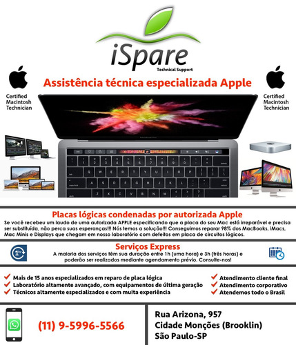 conserto reparo placa logica mac macbook pro air imac displa