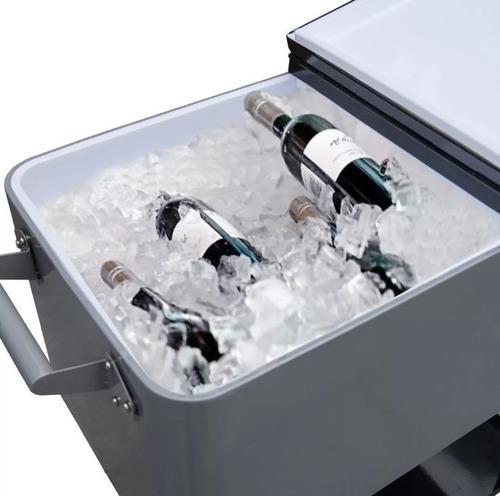 conservadora bebidas heladera metalica con ruedas lusqtoff