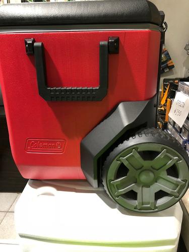 conservadora coleman 55qt roja /negra  con ruedas
