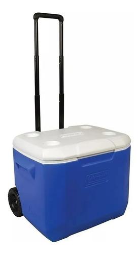 conservadora coleman clasica 60qt azul c/ruedas (56,8 lts)