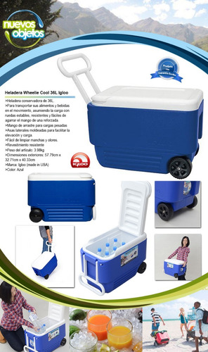 conservadora con ruedas igloo 36 l heladera wheelie cool usa