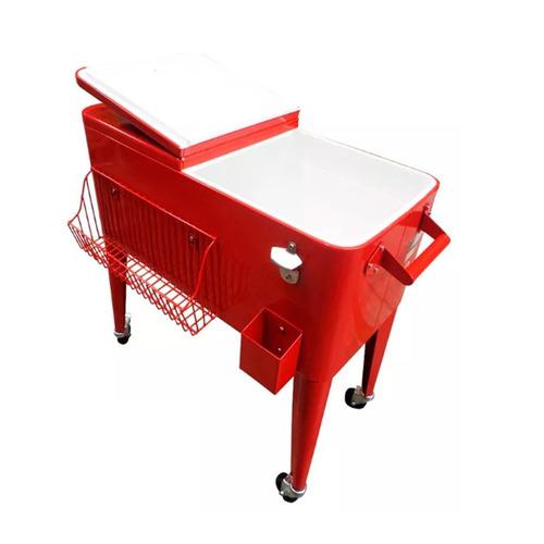 conservadora cooler retro metalica roja c/ ruedas 80l mm