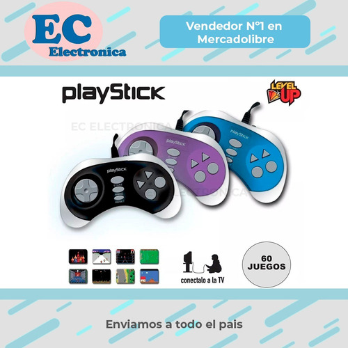 consola 8 bits playstick tv 60 juegos family level up gtia