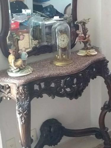 consola con espejo viselado antigua