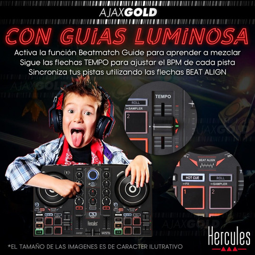 consola dj inpulse 2000 hercules mixer usb pad color + placa
