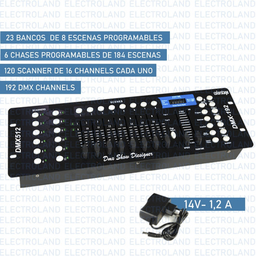 consola dmx 512 universal 192 canales efectos luces dj fiest