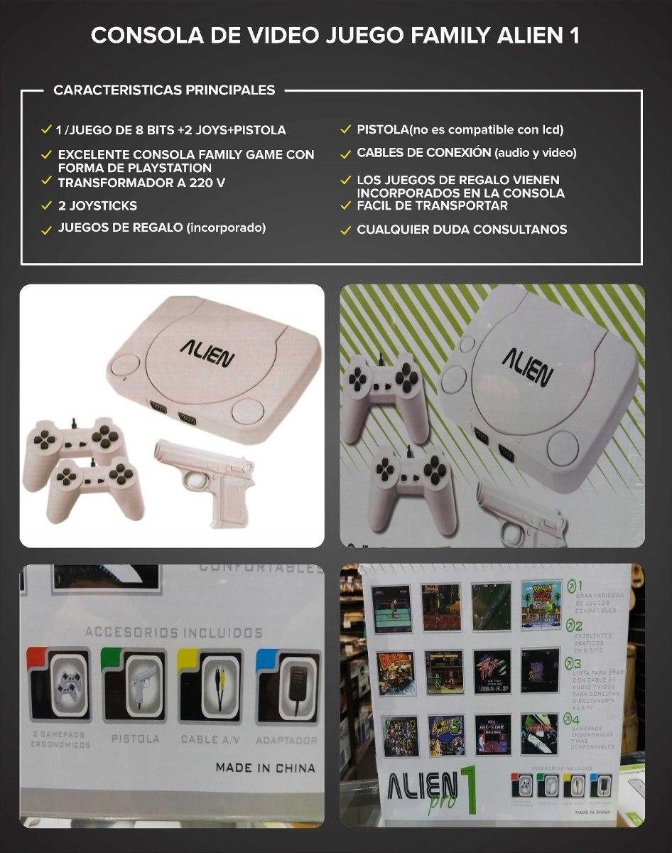 Consola Family Game Alien 1 Juego De 8 Bits 2 Joys Y Pistola 837