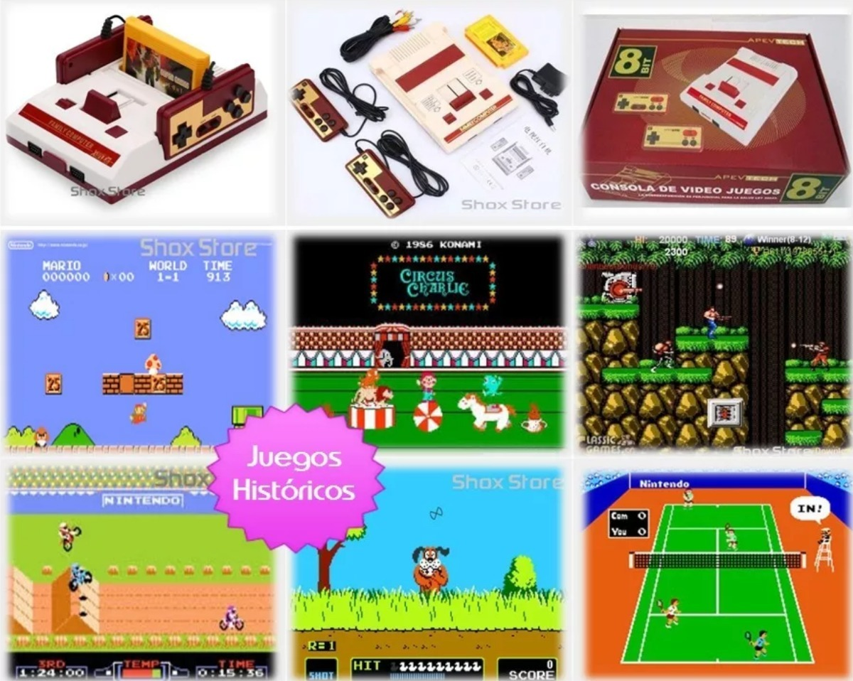 Consola Family Game Famicom Familicom Con 4 Cartuchos Juegos 870