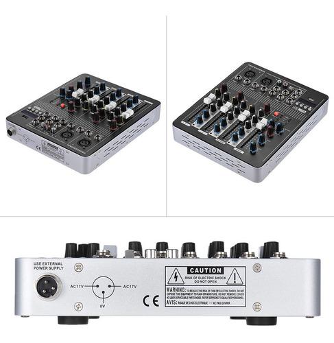 consola mezcladora de sonido profesional de 4 canales