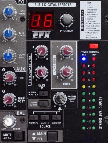 consola mixer 12 canales profesional 16 efectos mic y linea