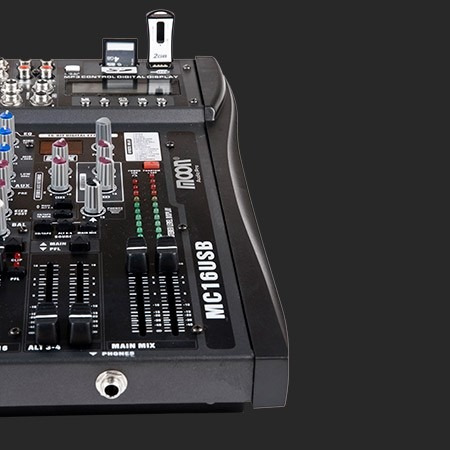 consola mixer 16 canales  efectos usb moon mc16usb