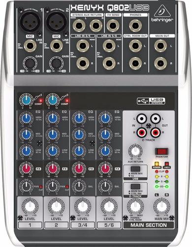 consola mixer behringer xenyx q802 usb 8 canales