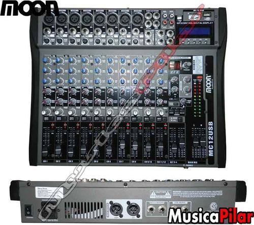 consola mixer moon mc12usb 12 ch usb sd efectos musicapilar