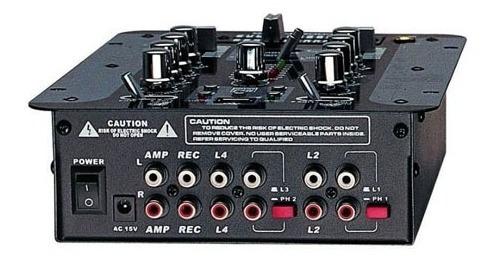 consola mixer moon mdj206 dj stereo 2 canales 4 entradas
