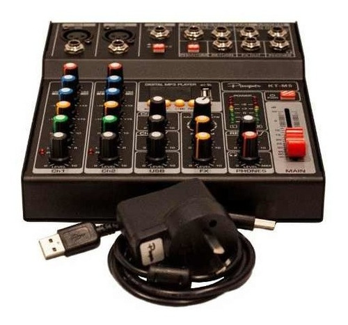 consola mixer parquer 5 canales phantom power usb bluetooth