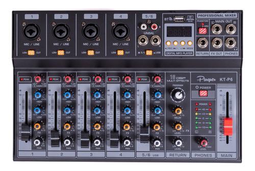consola mixer parquer 6 canales phanton power bluetooth usb