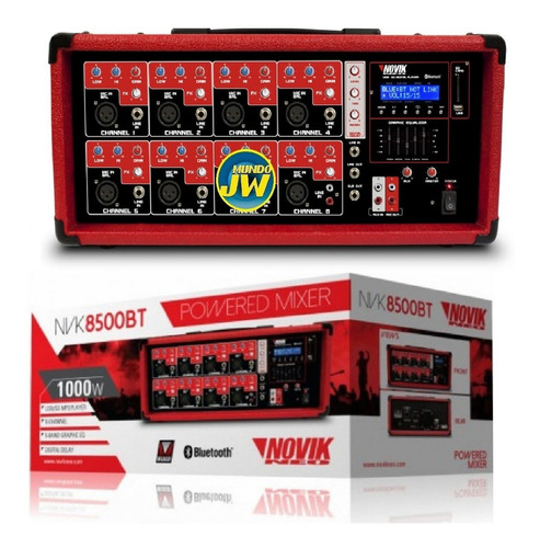 consola mixer potenciada novik nvk 8500bt bluetooth usb sd