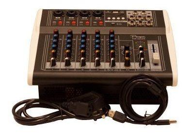 consola mixer potenciada parquer 6 canales 125x por lado