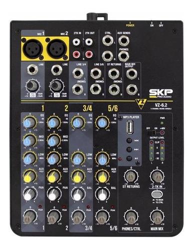 consola mixer skp 6 canales - usb mp3 phantom