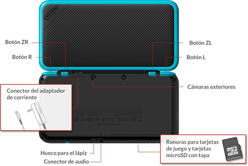 consola nintendo new 2ds xl negro + cargador / mica doble