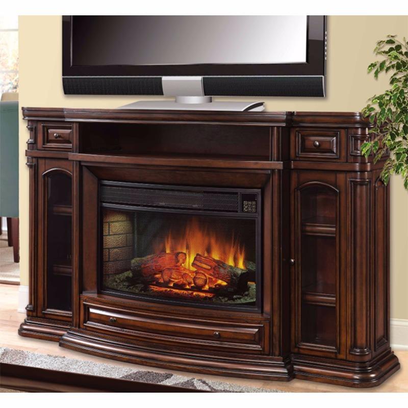 Consola para tv chimenea el ctrica madera ember hearth for Chimeneas de madera