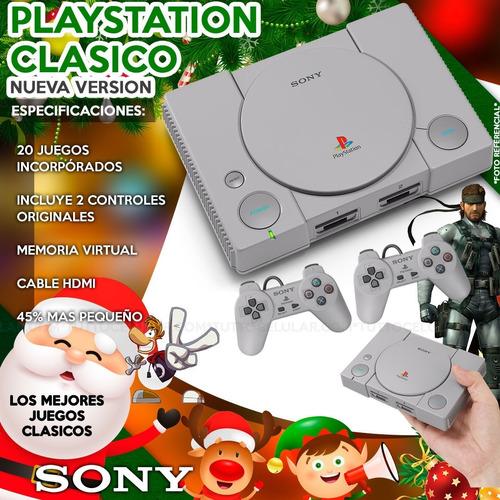 consola playstation 1 clásico+ 2 controles+ 20juegos