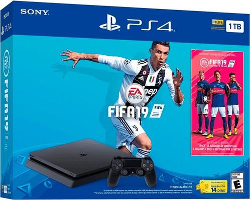 consola playstation 4 ps4 1 tb + fifa 2019 + 2 controles