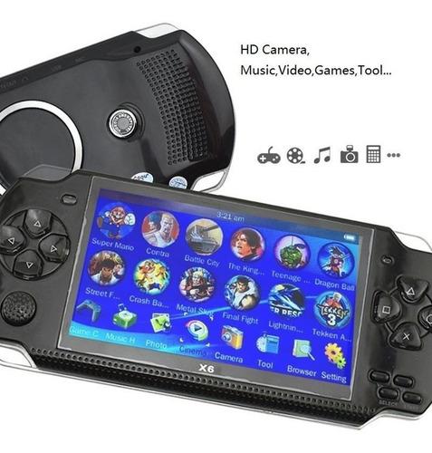 consola portatil x6 con 500 juegos, salida a tv, 8gb memoria
