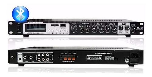 consola potenciada gbr power 6000 mp3 usb-bluetooth-mp3-sd