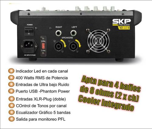 consola potenciada skp 400w + bluetooth + mic + auric sony