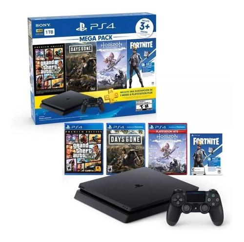 consola ps4 1 tb + 3 juegos + paquete fornite + 3 mese plus