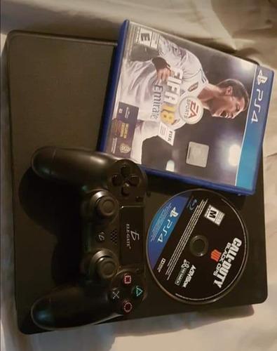 consola ps4 2 juegos físicos fifa 18 y call of duty