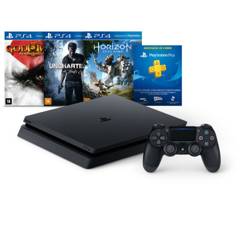 consola ps4 500gb + hzd + uc4 + gow3