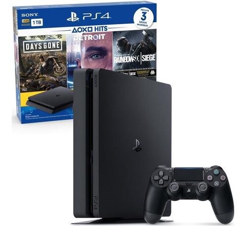 consola ps4 playstation 4 1tb + 2 joysticks + 3 juegos mexx