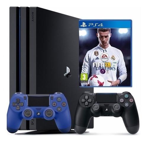 consola ps4 pro 1 tb + fifa 18 + 2 controles dualshock 4