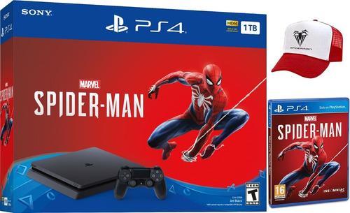 consola ps4 slim 1tb + juego spiderman + gorra nueva.