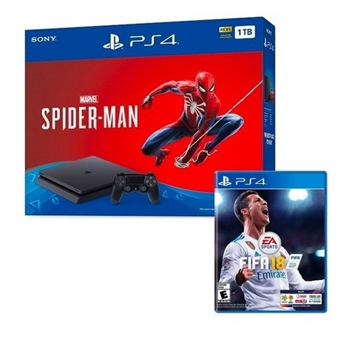 consola ps4 slim 1tb spiderman + juego fifa 18 / iprotech