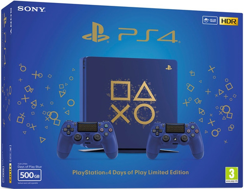 consola ps4 slim 500gb + dos controles. ed days of play.