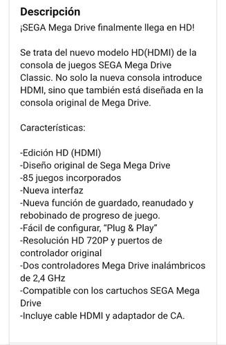 consola sega genesis mega flashback hd 85 juegos incluidos
