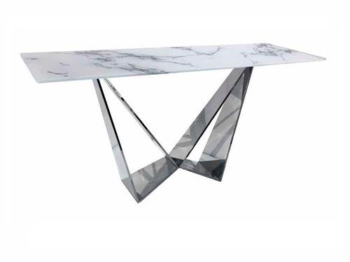 consola unico marmol cristal - blanco këssa muebles