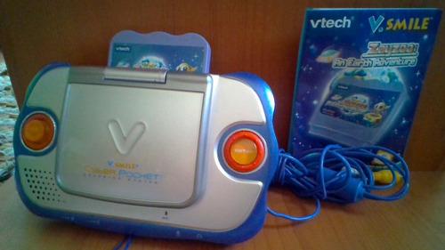consola vtech v.smile pocket + juego + cable av