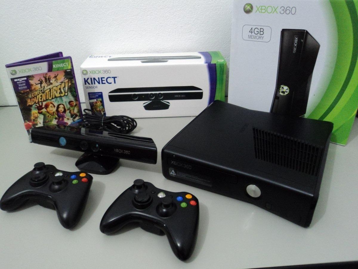 Consola Xbox 360 4g Slim 2 Controles Kinect Y 2 Juegos
