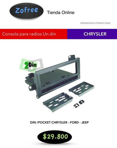 consola y pocket radio un din para chrysler ford jeep  74-03