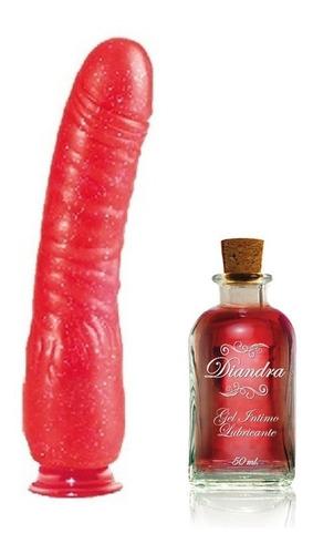 consolador de mujer rojo jelly 21 cm x 4cm + gel intimo lub