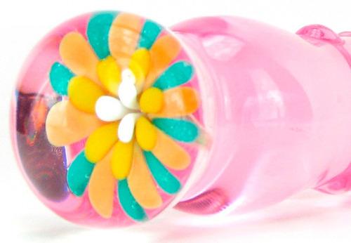 consolador pyrex - pink flowered glass dildo