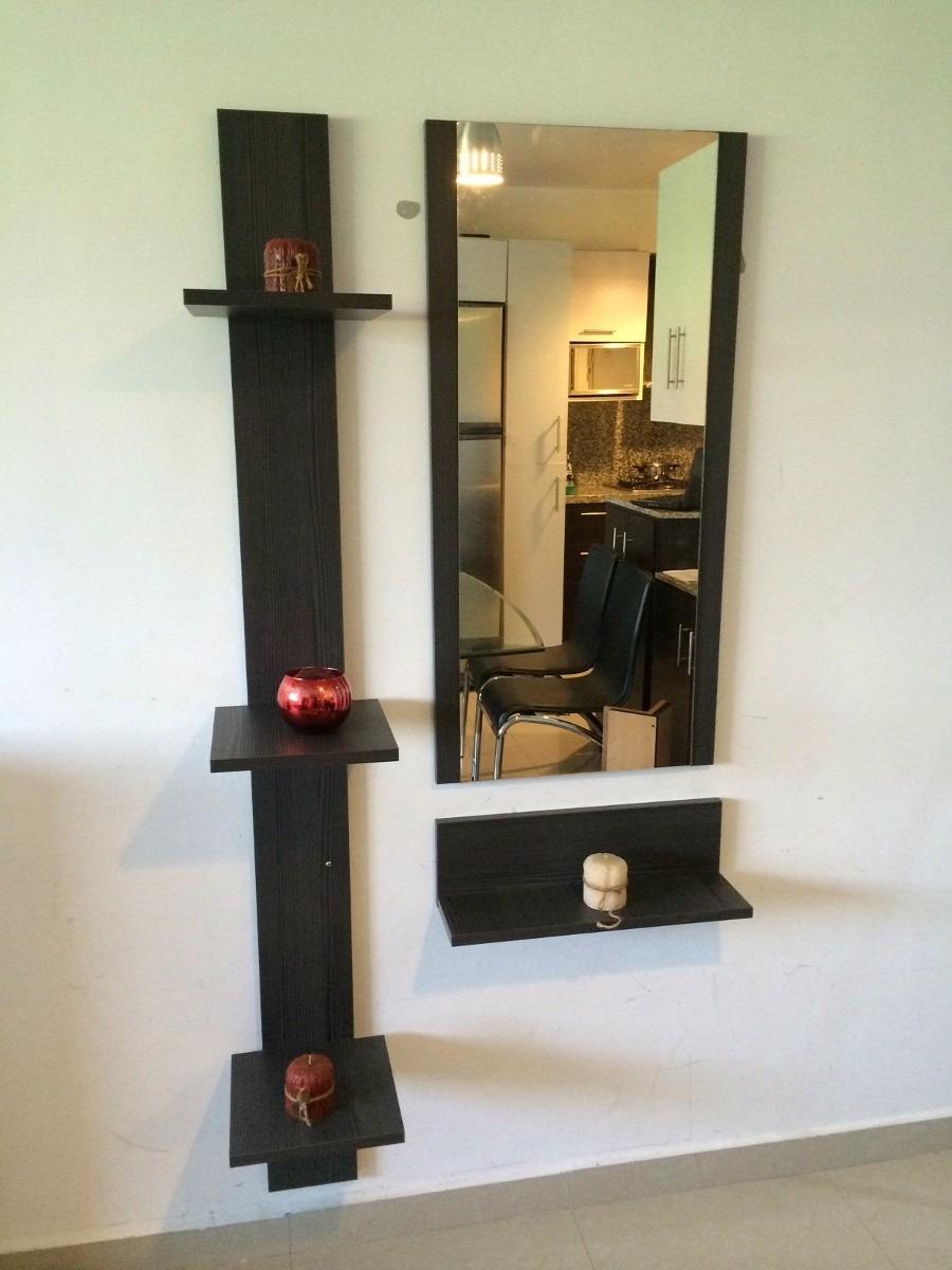 Consolas o recibidores modernos minimalistas con espejo for Espejos de pared madera